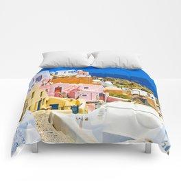 Colorful Santorini Comforters