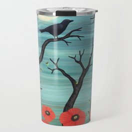 crows, fireflies, and poppies in the moonlight Travel Mug
