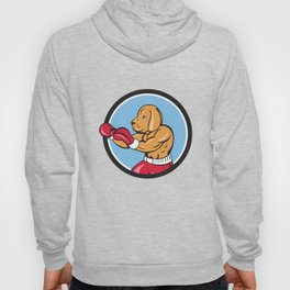 Dog Boxer Fighting Stance Circle Cartoon Hoody