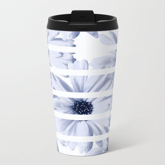 Light Blue Daisies with White Stripes Metal Travel Mug