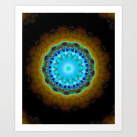 Lovely Healing Mandalas in Brilliant Colors: Black, Brown, Navy, Copper, and Light Blue Art Print