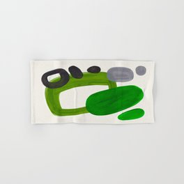 Minimalist Modern Mid Century Colorful Abstract Shapes Olive Green Retro Funky Shapes 60's Vintage Hand & Bath Towel