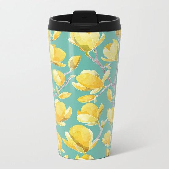 Yellow Magnolia Spring Bloom Metal Travel Mug
