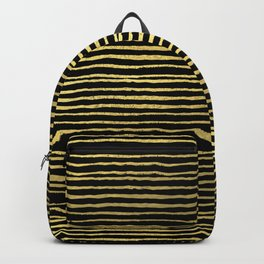 Gold and black stripes minimal modern painted abstract painting minimalist decor nursery Backpack