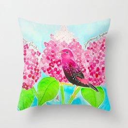 Strawberry Finch & Hydrangeas Throw Pillow