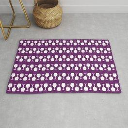 Purple Wine Glass Stripes Pattern Rug