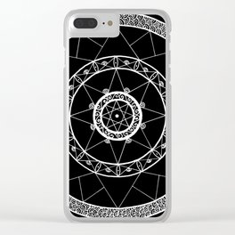 Zen Star Mandala - Black White - Square Clear iPhone Case