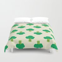 vegetable Duvet Covers featuring VEGETABLE-BROCCOLI! by Claudia Ramos Designs