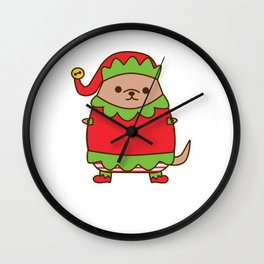 Cute Christmas Elf Pupsheen Wall Clock