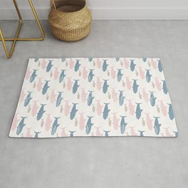 Pink and Blue Kids Cute Shark Silhouette Wave Rug