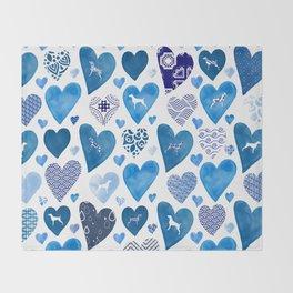 BLUE HEARTS WEIMARANERS Throw Blanket