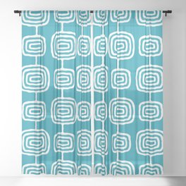 Mid Century Modern Atomic Rings Pattern Turquoise Sheer Curtain