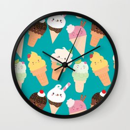 Kawaii Happy Ice Creams, Turquoise Wall Clock