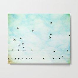 Birds Flying in Sky, Birds on Wires, Aqua Sky Nursery Art, Turquoise Pastel Nature Photo Metal Print