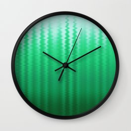 Green and Blue Ombre Soft Wavy Lines Wall Clock
