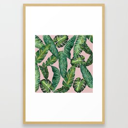Jungle Leaves, Banana, Monstera II Pink #society6 Framed Art Print