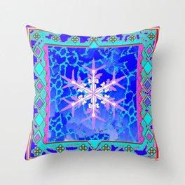 Blue Frozen Snowflake Abstract Art Throw Pillow
