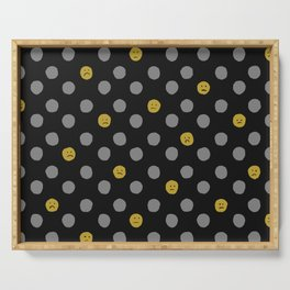 Sad Face Polka Dot in Black and Gold Serving Tray
