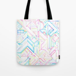 90s Inspired Print // GEOMETRIC PASTEL BRIGHT SHAPES PATTERN GRAPHIC DESIGN Tote Bag