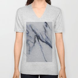 White Marble with Black and Blue Veins Unisex V-Neck