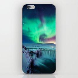 Aurora Borealis Over A Waterfall iPhone Skin