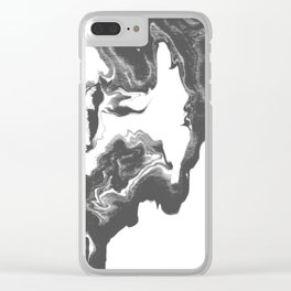 Somi - spilled ink black and white marble patterned painting watercolor abstract art Clear iPhone Case