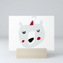 Cute holiday bear white Mini Art Print