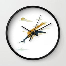 giraffe riding shark Wall Clock