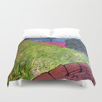 lara croft Duvet Covers featuring View from Croft House by BenjaRenouleaud
