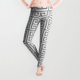 Greek Key pattern - Greek fret design , grey, white Leggings