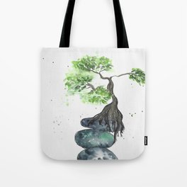 Zen watercolor with balancing Rocks and tree Tote Bag