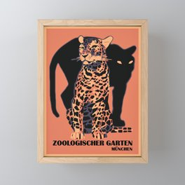 Retro vintage Munich Zoo big cats Framed Mini Art Print