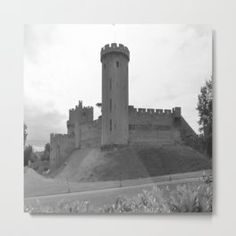 Black and white English Castle Metal Print