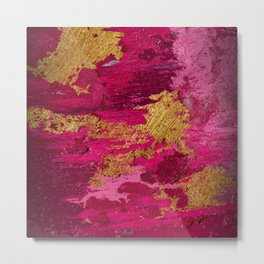 Pink & Gold Metallic Abstract Metal Print