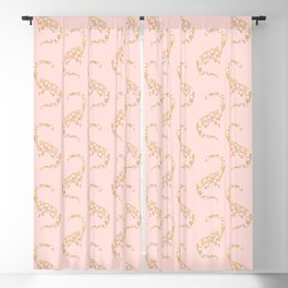 Floral Brontosaurus in Pink Blackout Curtain
