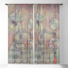 """Paul Klee """"Schicksalstunde um dreiviertel zwölf (Fate hour at three-quarters twelve)"""" Sheer Curtain"""