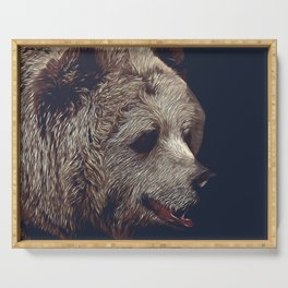 kodiak brown bear vector art dark Serving Tray