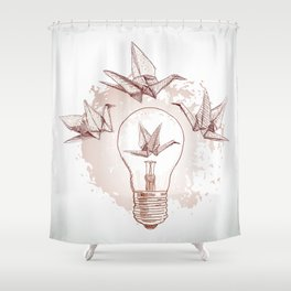 Origami paper cranes and light Shower Curtain