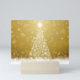 Gold Snowflakes Sparkling Christmas Tree Mini Art Print