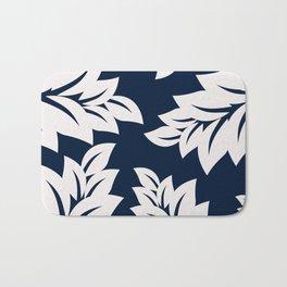 Navy Blue tropical leaves Bath Mat