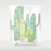 cacti Shower Curtains featuring Cacti by YOKO.home