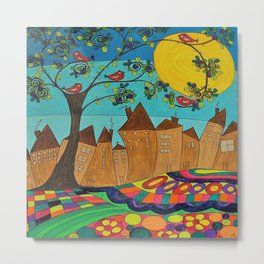 Whimsical Folk Art Landscape Row Houses outsider art Metal Print