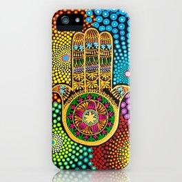 Hamsa Hand, hand of fatima, mandala, yoga art, mandala art, meditation art iPhone Case