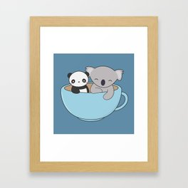 Kawaii Cute Koala and Panda Framed Art Print