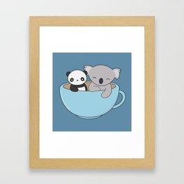 Kawaii Cute Koala and Panda Framed Art Print