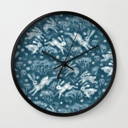 Hares in Snow Field, Winter Animals Rabbits Pattern Wool Texture Teal Wall Clock