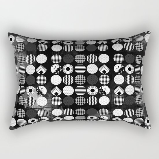 Hectic Geometric On Textured Black And White Rectangular Pillow