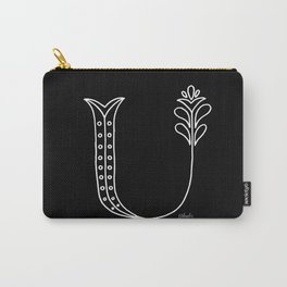 U- Letter Collection Black Carry-All Pouch