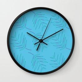 Luxury vintage Palms blue on green. Original art Wall Clock