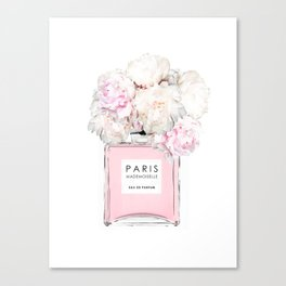 Peonies, Flowers, Bottle, Pink, Fashion art, Minimal, Trendy decor, Interior, Wall art Canvas Print